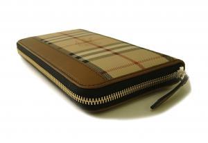 No.4 長財布 ラウンドファスナー ホースフェリーチェック ブラウン *大きめサイズ