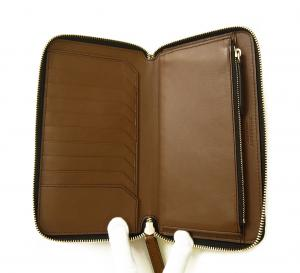 No.5 長財布 ラウンドファスナー ホースフェリーチェック ブラウン *大きめサイズ