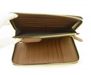 No.6 長財布 ラウンドファスナー ホースフェリーチェック ブラウン *大きめサイズ