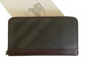 バーバリー 長財布  ラウンドファスナー スモークドチェック *大きめサイズ