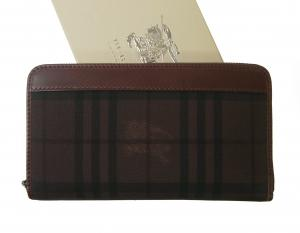 バーバリー 長財布 ラウンドファスナー ホースフェリー マホガニーレッド *大きめサイズ