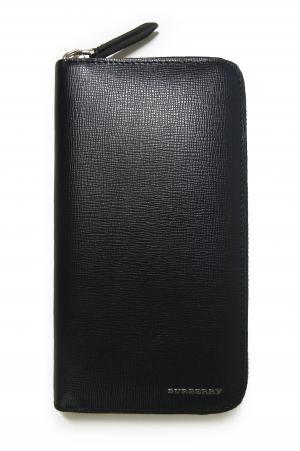 バーバリー 長財布 (ネイビー) メンズ ロンドンレザー ラウンドファスナー