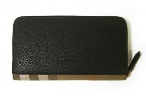 No.3 長財布 ファスナー トラベル ハウスチェック *大きめサイズ