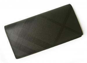 バーバリー 長財布 メンズ  ロンドンチェック(チャコール×ブラック)