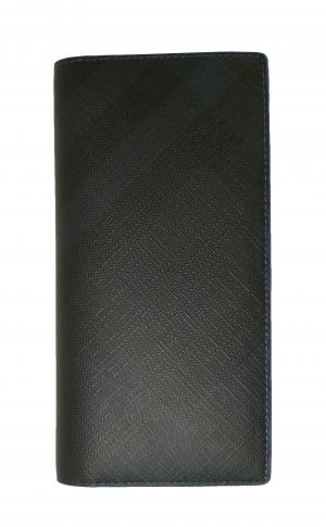 バーバリー 長財布 メンズ カード大容量  ロンドンチェック(ネイビー×ブルー)