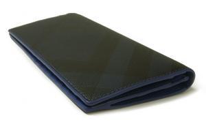 No.3 長財布 メンズ カード大容量  ロンドンチェック(ネイビー×ブルー)