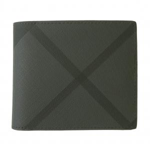 バーバリー 財布 メンズ 二つ折 ロンドンチェック(チャコール)