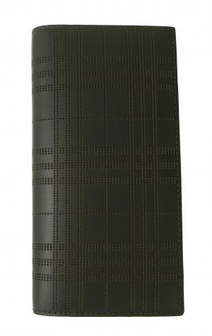 バーバリー 長財布 メンズ 二つ折 カード大容量 パーフォレーテッドチェック