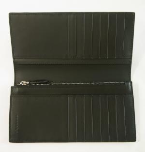 No.4 長財布 メンズ 二つ折 カード大容量 パーフォレーテッドチェック