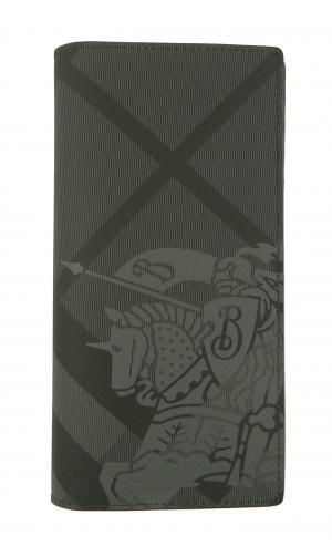 バーバリー 長財布 メンズ カード大容量 二つ折り ロンドンチェック(チャコール)