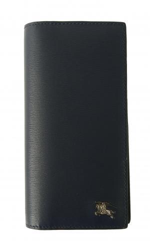 バーバリー 長財布 メンズ 二つ折 カード大容量 ロンドンレザー(ネイビー)
