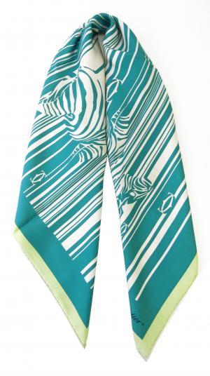 No.2 スカーフ シルク 90×90サイズ (ターコイズ)