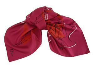 クリスチャンディオール スカーフ GRACE1  シルク  90×90 (ルージュ)