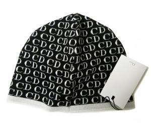 No.2 ニットキャップ 帽子 (ブラック+ホワイト)