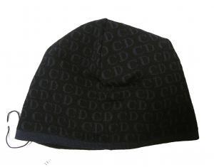No.2 ニットキャップ 帽子 (ブラック+ブルーグレー)
