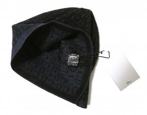 No.3 ニットキャップ 帽子 (ブラック+ブルーグレー)