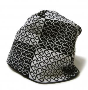 No.4 ニットキャップ 帽子 (ブラック+ホワイト)