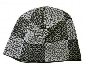 No.8 ニットキャップ 帽子 (ブラック+ホワイト)