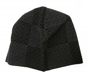 No.7 ニットキャップ 帽子 (ブラック+グレー)