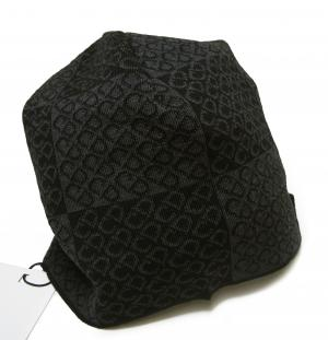 No.8 ニットキャップ 帽子 (ブラック+グレー)
