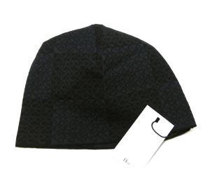 No.4 ニットキャップ 帽子 (ブラック+ブルーグレー)