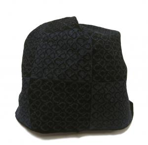 No.7 ニットキャップ 帽子 (ブラック+ブルーグレー)