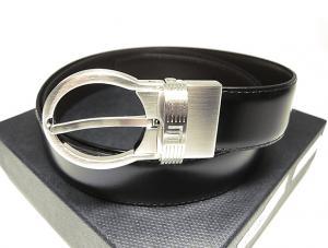 ダンヒル ベルト 回転バックル メンズ (ブラック/ダークブラウン)