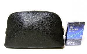 No.3 ポーチ 型押し カーフ レザー (ブラック)