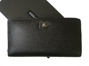 ドルチェ&ガッバーナ 長財布 メンズ ラウンドファスナー ドーフィン 型押し ブラック