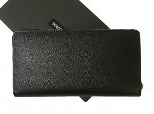 No.2 長財布 メンズ ラウンドファスナー ドーフィン 型押し ブラック