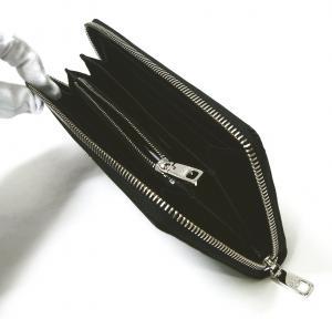 No.4 長財布 メンズ ラウンドファスナー ドーフィン 型押し ブラック