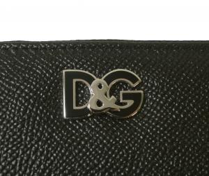 No.6 長財布 メンズ ラウンドファスナー ドーフィン 型押し ブラック