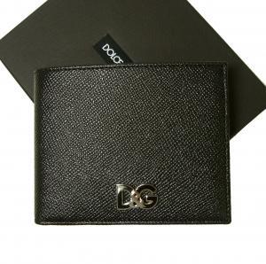 ドルチェ&ガッバーナ 財布 メンズ 二つ折り ドーフィン 型押し ブラック