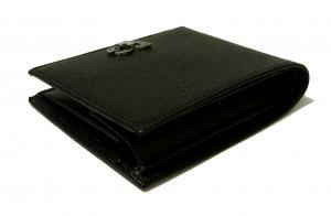 No.4 財布 メンズ 二つ折り ドーフィン 型押し ブラック