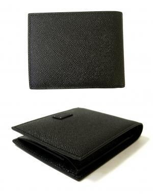 No.2 財布 メンズ ドーフィン 型押しレザー 二つ折(ブラック)