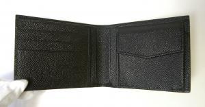 No.4 財布 メンズ ドーフィン 型押しレザー 二つ折(ブラック)