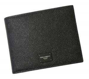 No.7 財布 メンズ ドーフィン 型押しレザー 二つ折(ブラック)