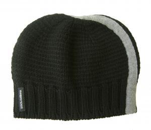 ドルチェ&ガッバーナ 帽子  ニットキャップ ウール (ブラック+グレー)