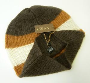 No.3 帽子 ニットキャップ ラインデザイン(ブラウン)Lサイズ