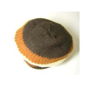 No.5 帽子 ニットキャップ ラインデザイン(ブラウン)Lサイズ