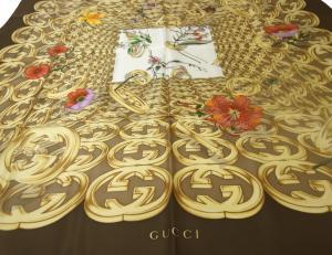 No.3 スカーフ シルク (ダークブラウン) 大判 GUCCI グッチ