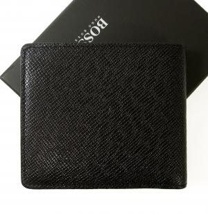 No.2 財布 メンズ 二つ折 (ブラック) 型押し牛革