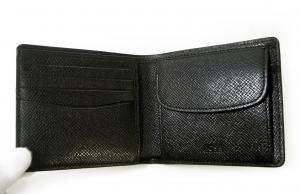 No.5 財布 メンズ 二つ折 (ブラック) 型押し牛革
