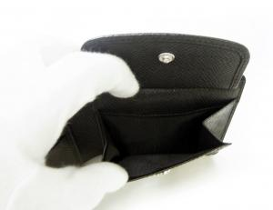 No.7 財布 メンズ 二つ折 (ブラック) 型押し牛革
