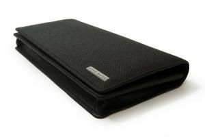 No.3 長財布 メンズ 二つ折 型押し牛革 (ブラック)