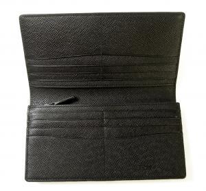No.4 長財布 メンズ 二つ折 型押し牛革 (ブラック)