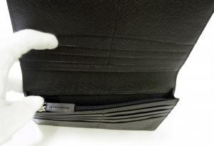No.5 長財布 メンズ 二つ折 型押し牛革 (ブラック)