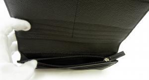 No.6 長財布 メンズ 二つ折 型押し牛革 (ブラック)