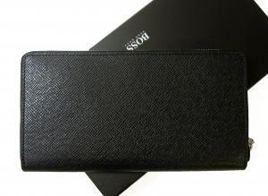 No.2 長財布 メンズ 型押し牛革 ラウンドファスナー (ブラック)