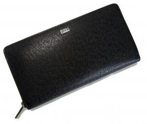 No.6 長財布 メンズ 型押し牛革 ラウンドファスナー (ブラック)